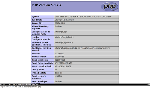 phpinfo in busybox
