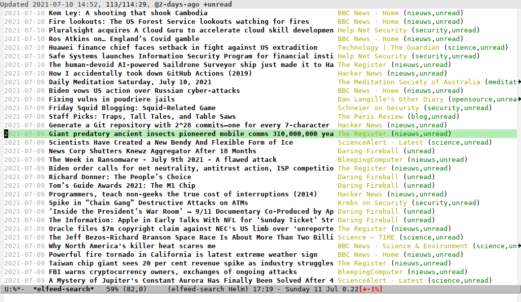 Elfeed in Emacs on the Acer Aspire One ZG5